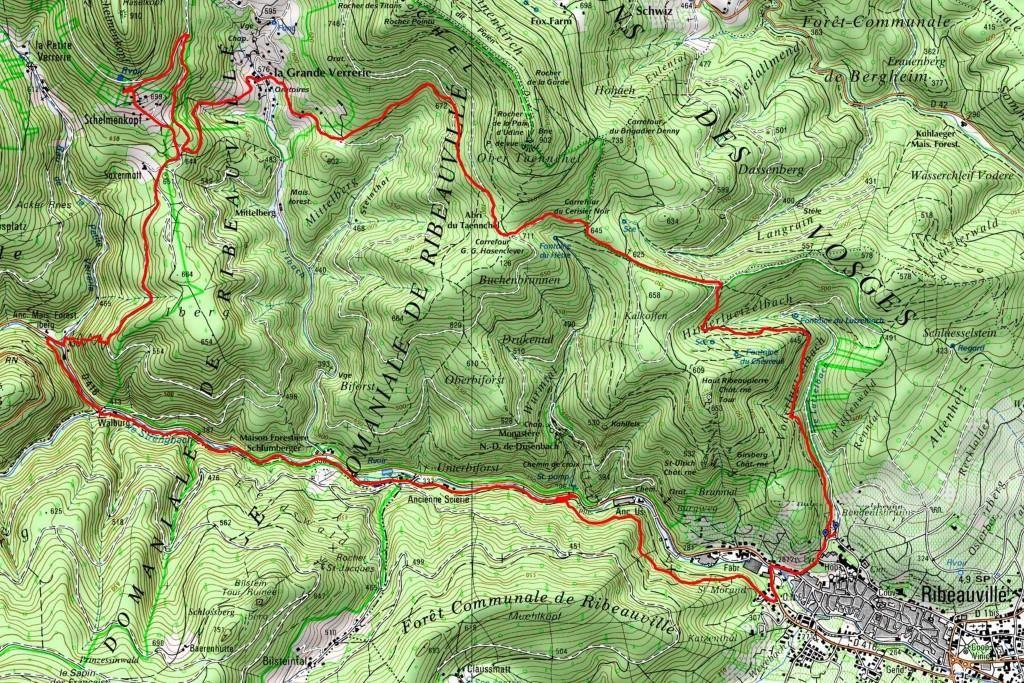 L'itinéraire de la randonnée du 9 novembre