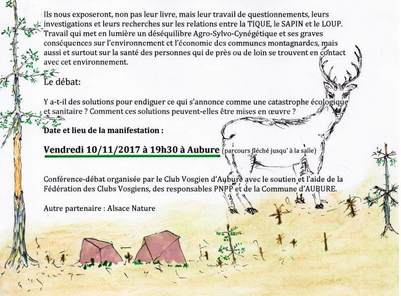 Vendredi 10 novembre, à Aubure - Sur les traces de Lyme, la tique, le sapin et le loup