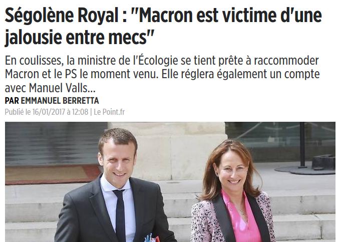 """E. Macron, """"victime d'une jalousie entre mecs"""""""