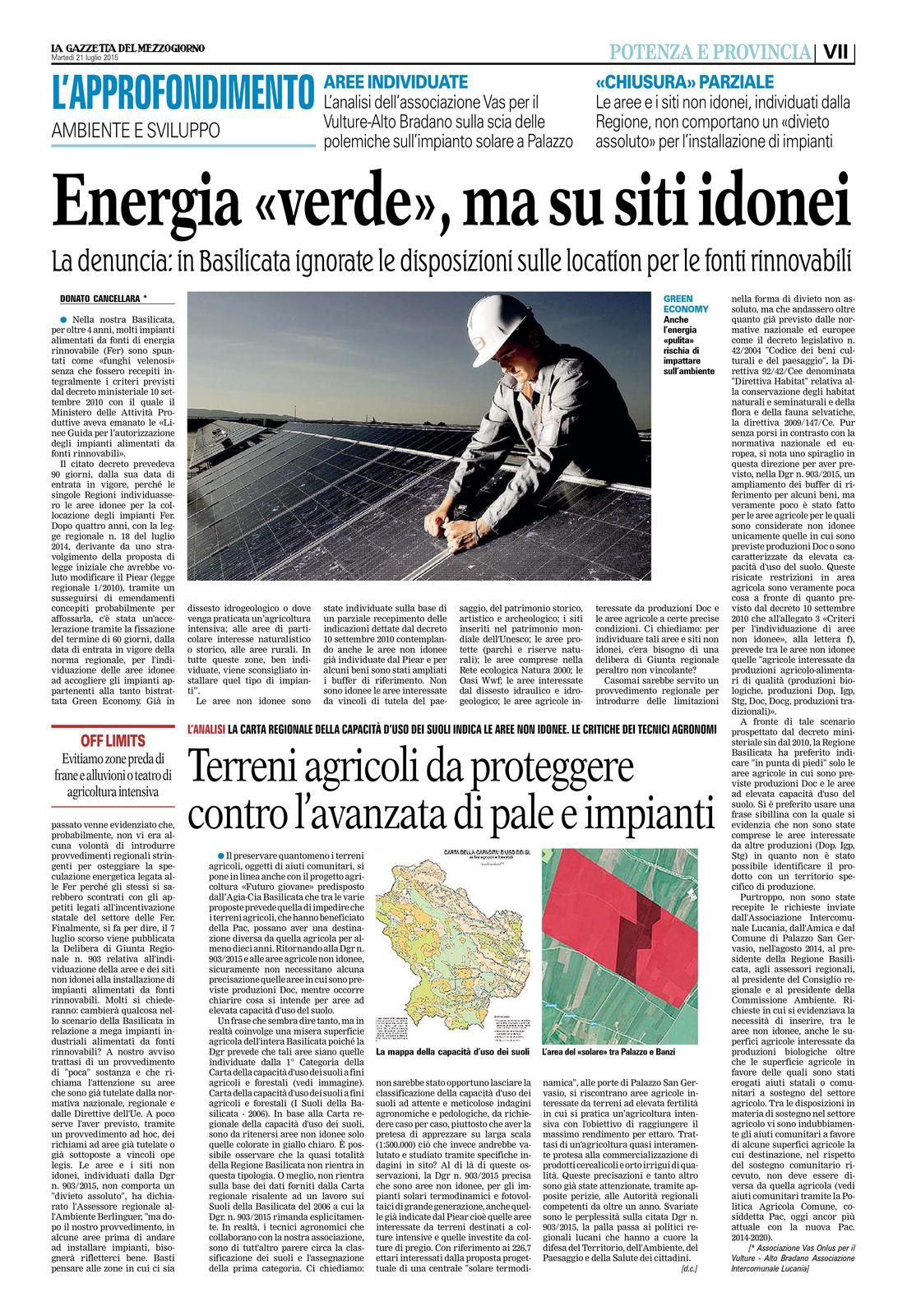 Gazzetta del Mezzogiorno - ed. 21 luglio 2015