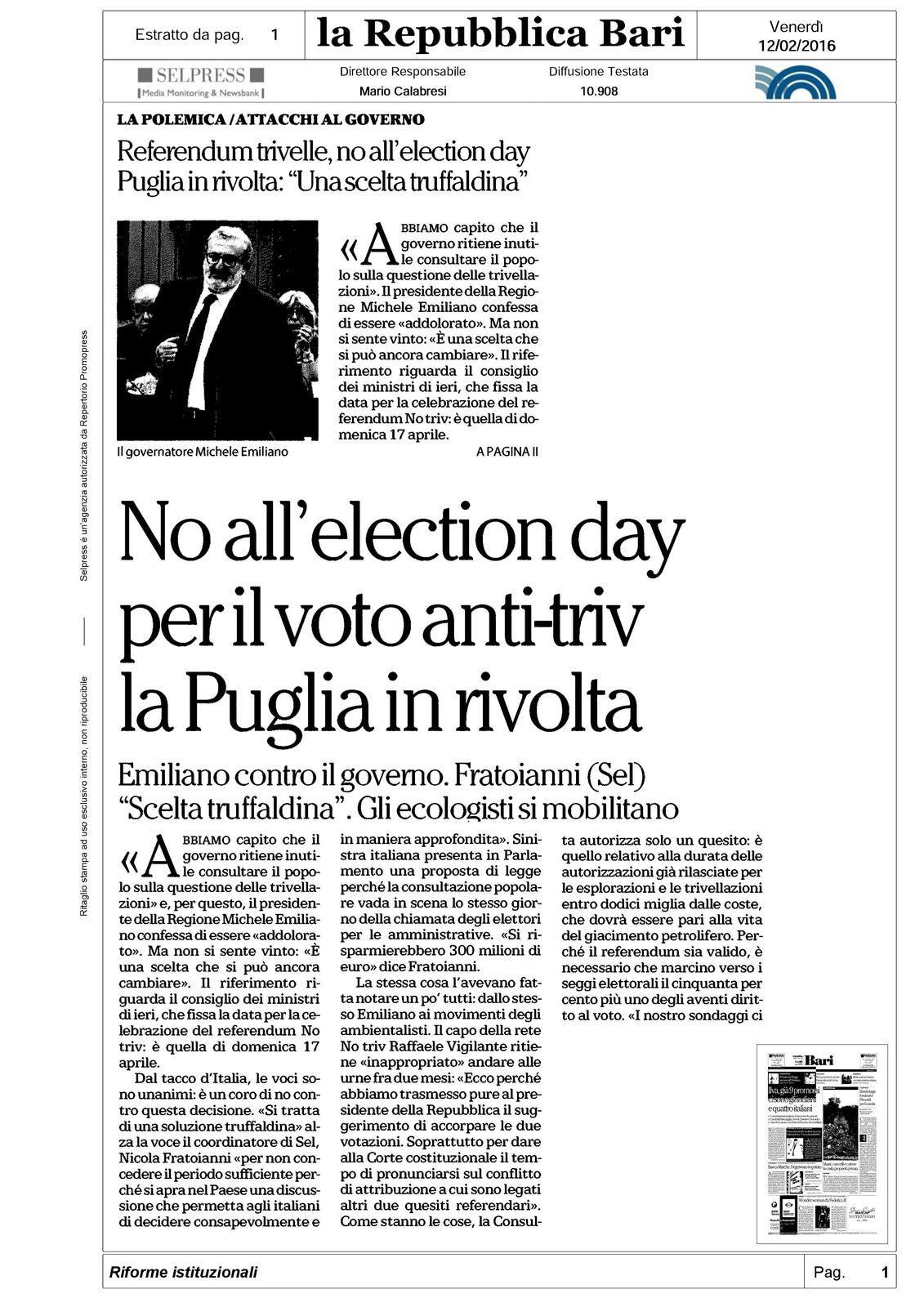 Negare l'election day, per minare il referendum, è &quot&#x3B;una soluzione truffaldina&quot&#x3B; che andrebbe bloccata.