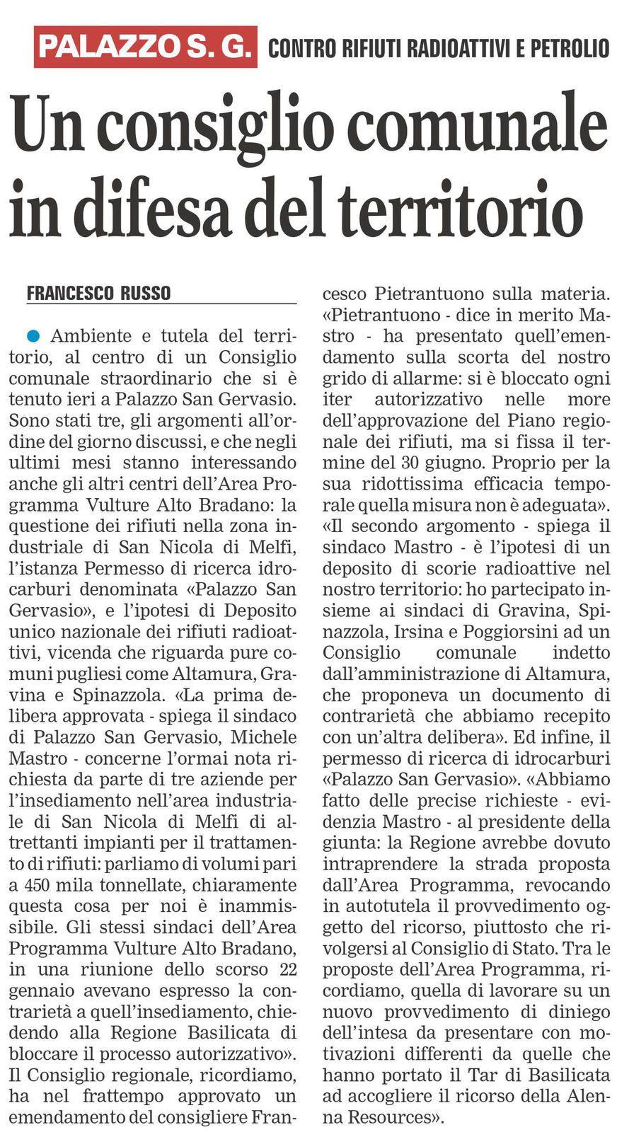 La Gazzetta del Mezzogiorno - ed. 19 febbraio 2016