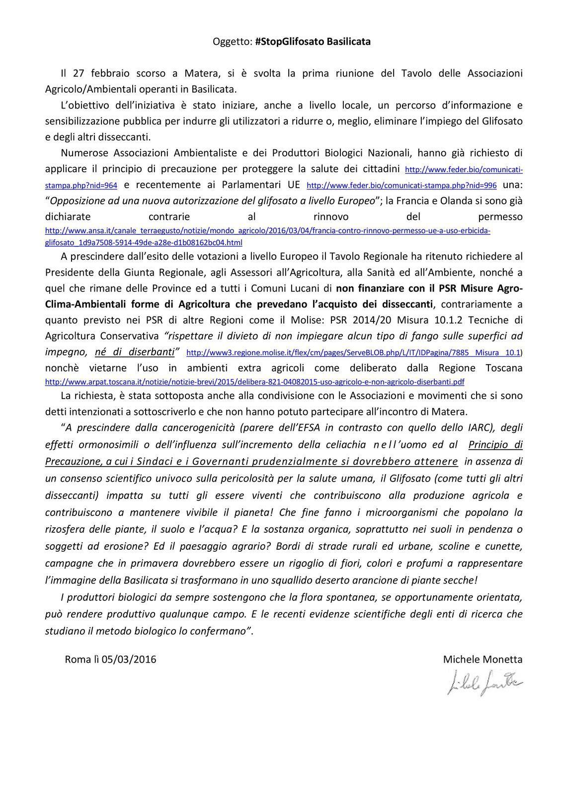 #STOP GLIFOSATO: chiesti atti concreti alla Regione Basilicata e ai Comuni lucani.