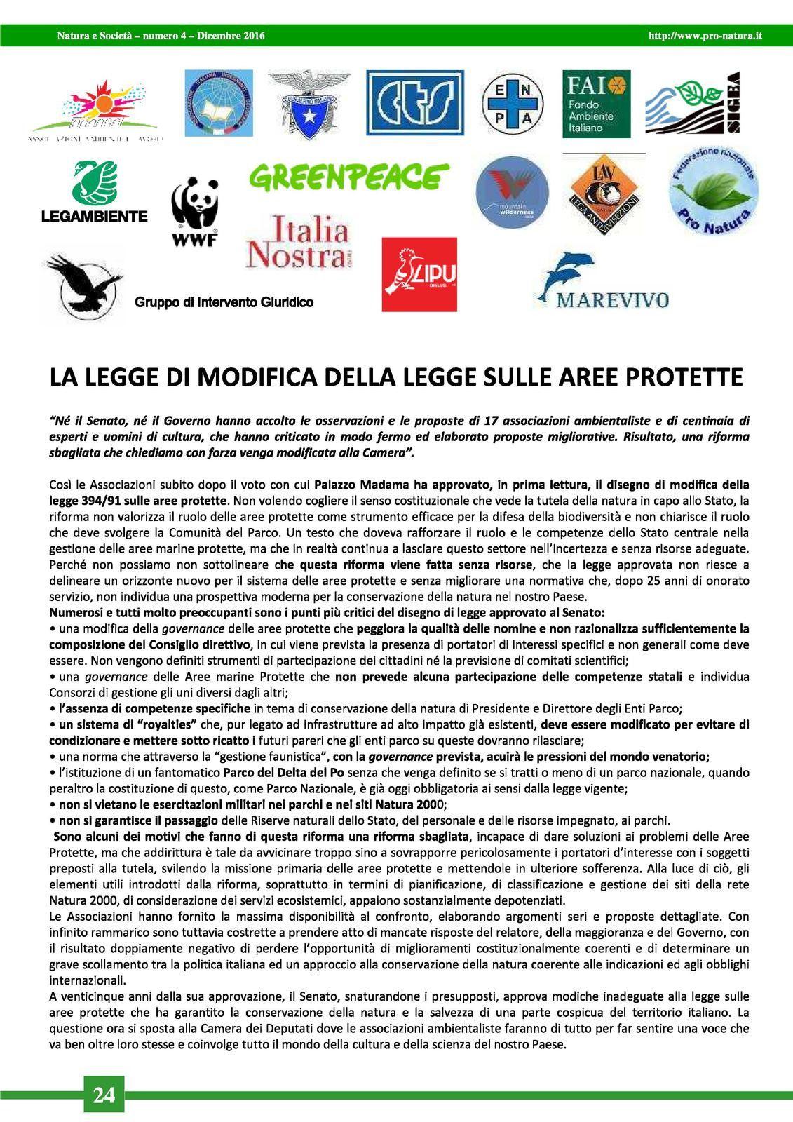articolo/comunicato stampa tratto dal Notiziario Natura e Società n. 4 - dicembre 2016