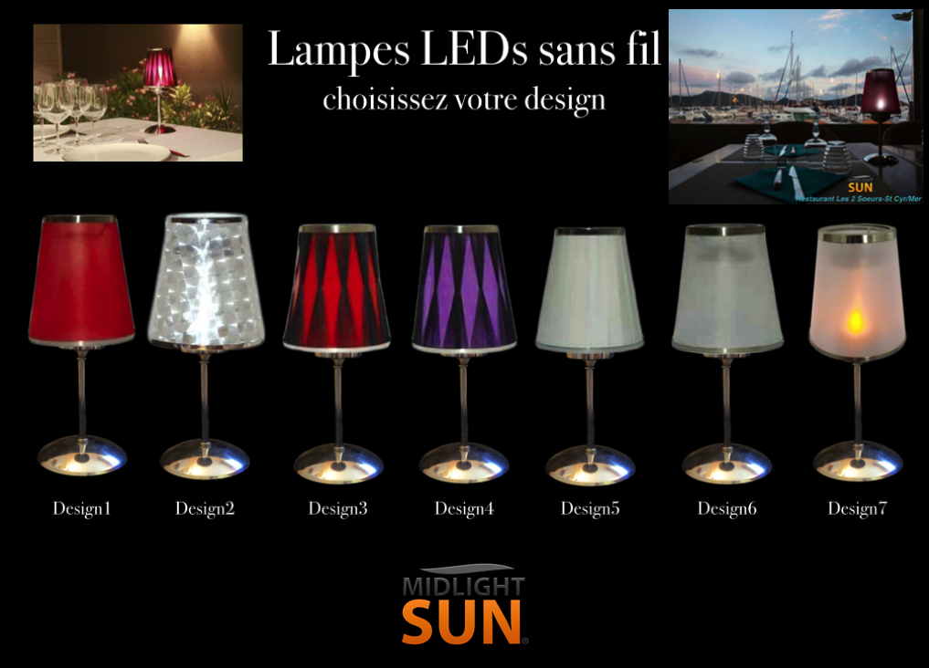 Midlightsun lampes led sans fil rechargeables int rieur for Lampe de chevet rechargeable