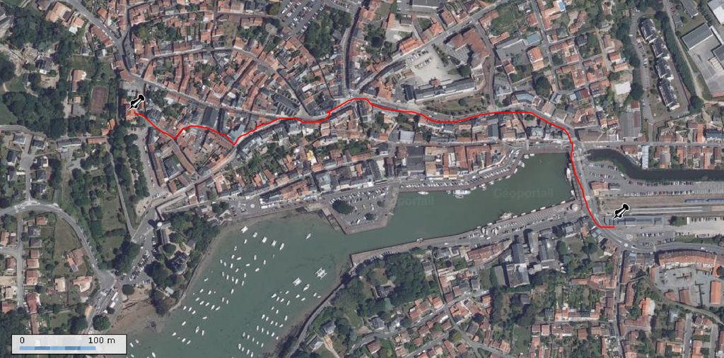 Trajets Gare appartement par le port et le centre ville