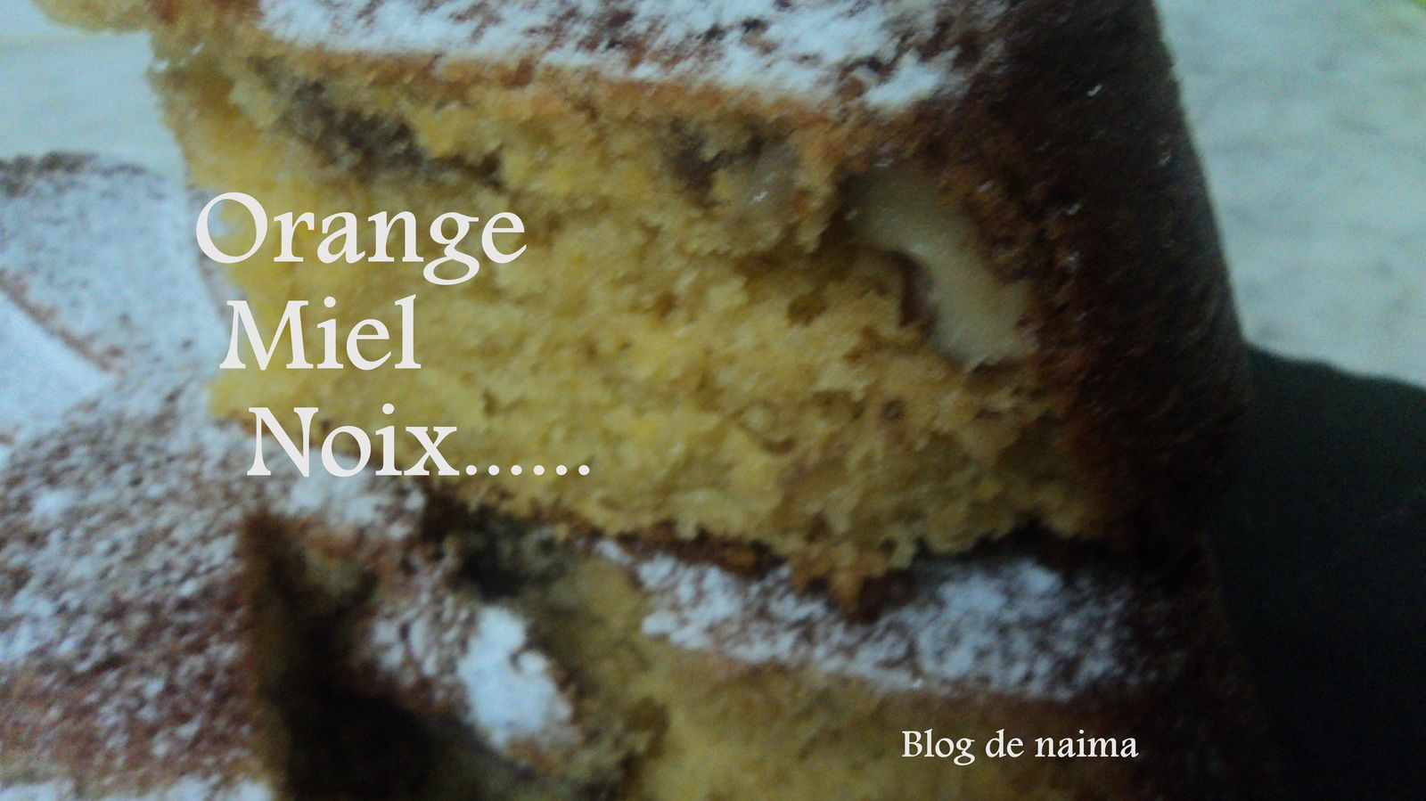 Cake à l'orange, miel et noix
