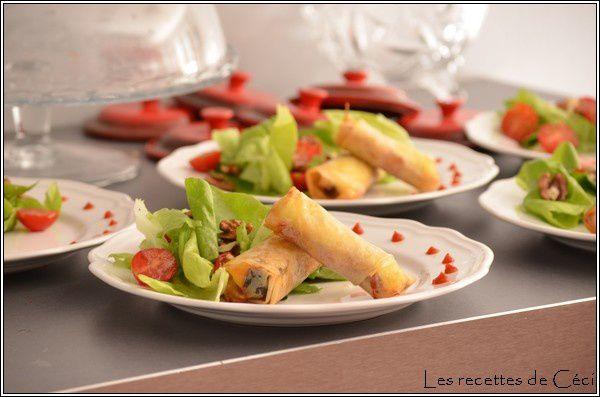 Croquant de brie aux pruneaux et aux lardons et sa salade