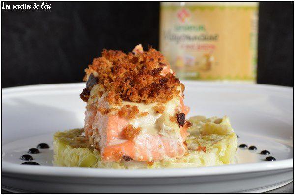 Saumon en croûte de mayonnaise au pain d'épices, fondue de poireaux et petit caramel balsamique