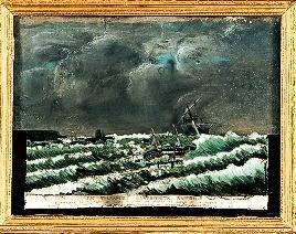 Naufrage de l'Amphitrite 31 août 1833 au large de Boulogne sur mer- Musée de Fécamp -Ex voto -Peinture sous Attribué à Alexandre Lamartinière