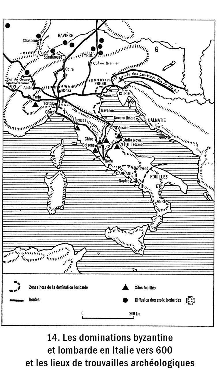 14. Les dominations byzantine et lombarde en Italie vers 600 et les lieux de trouvailles archéologiques