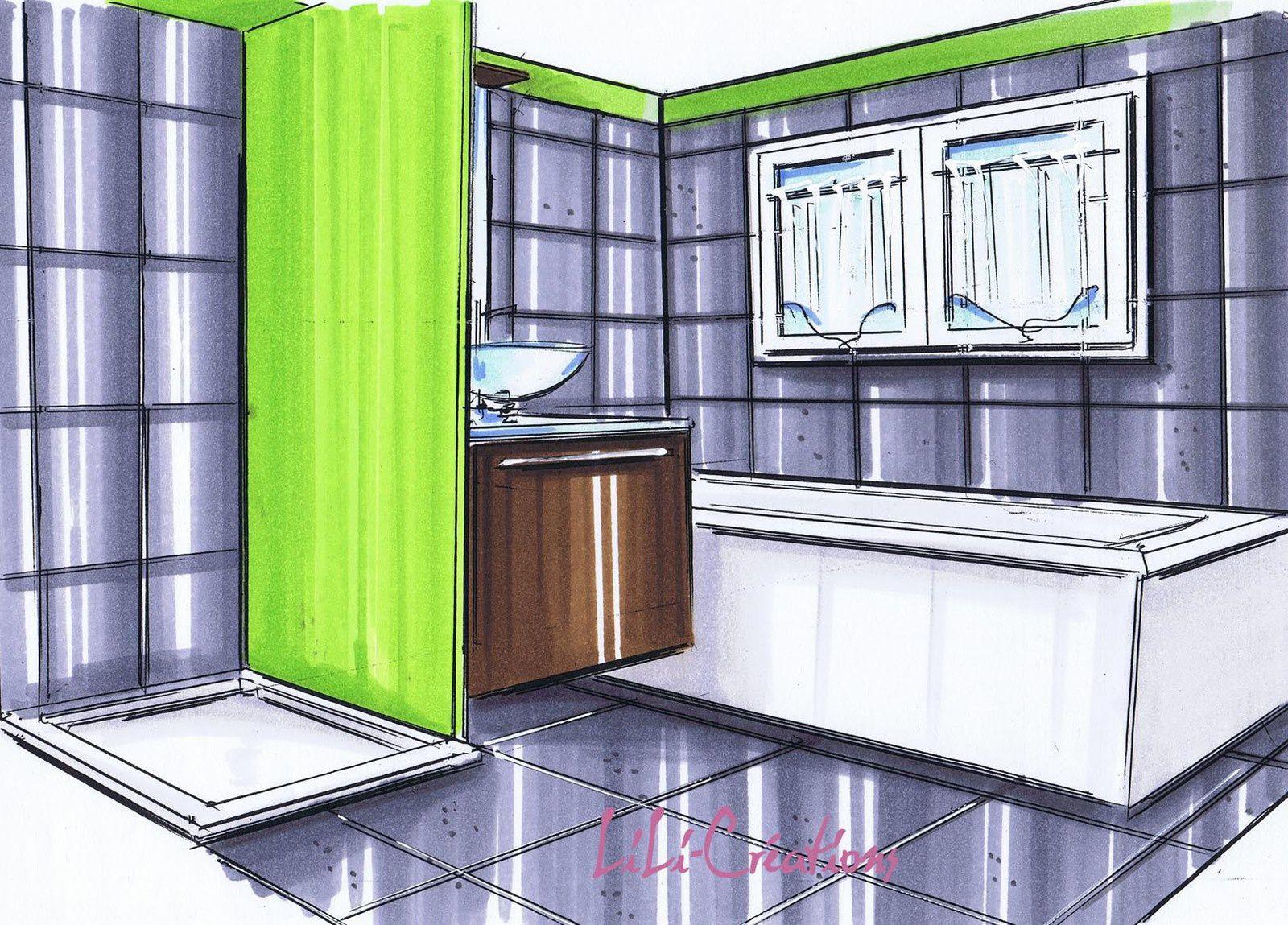 Salle de bains verte et grise le blog de elise fossoux for Salle de bain gris et vert