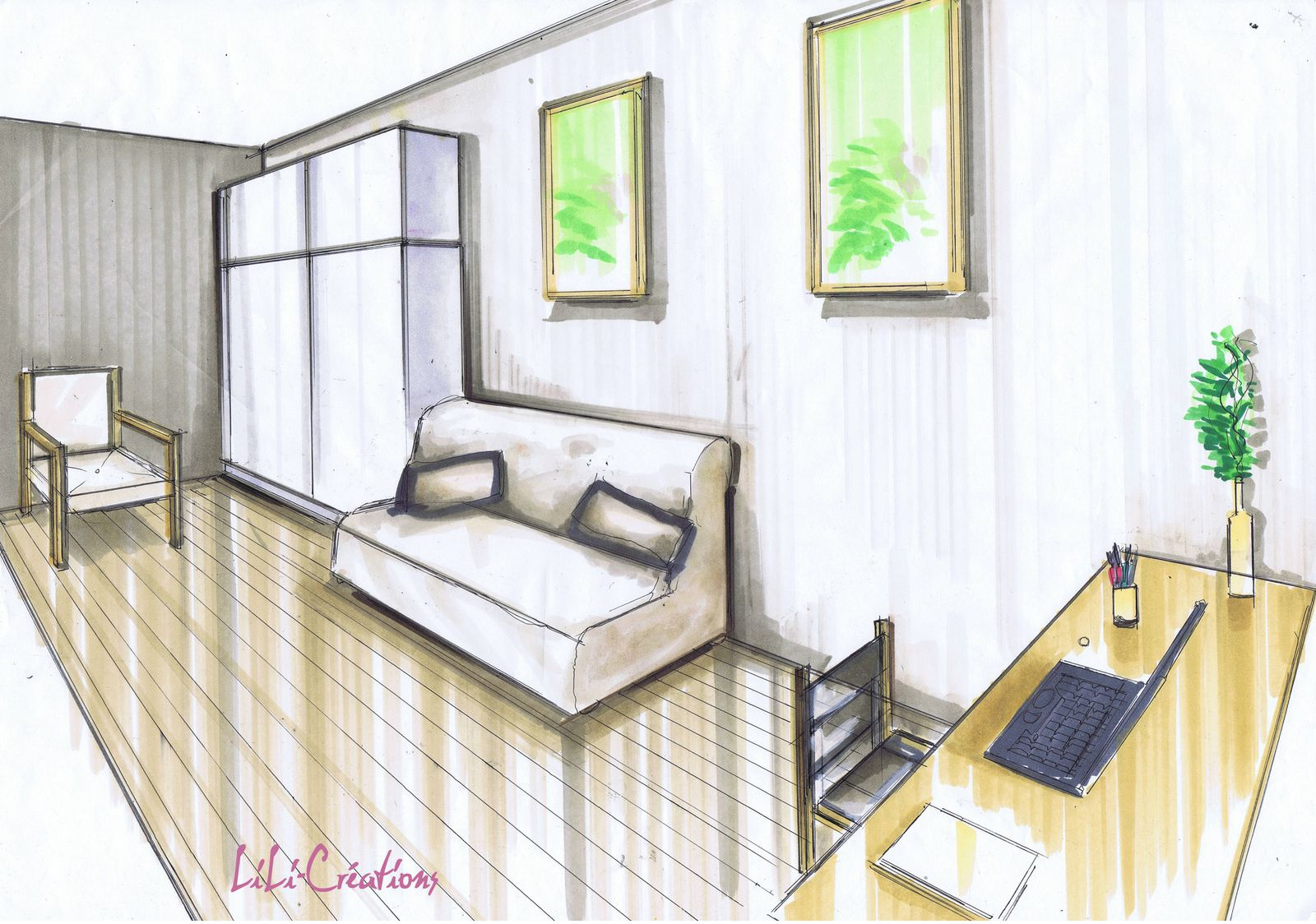 dessin en perspective d une chambre with dessin en perspective d une chambre. Black Bedroom Furniture Sets. Home Design Ideas