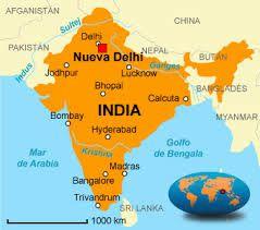 Mapa de la India.