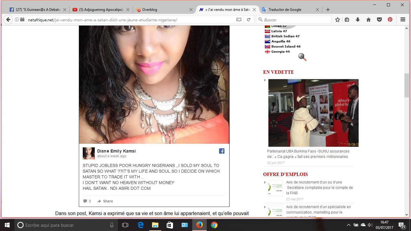 No quiero ganarme un cielo sin dinero: 'He vendido mi alma a Satanás', dice una joven estudiante nigeriana.