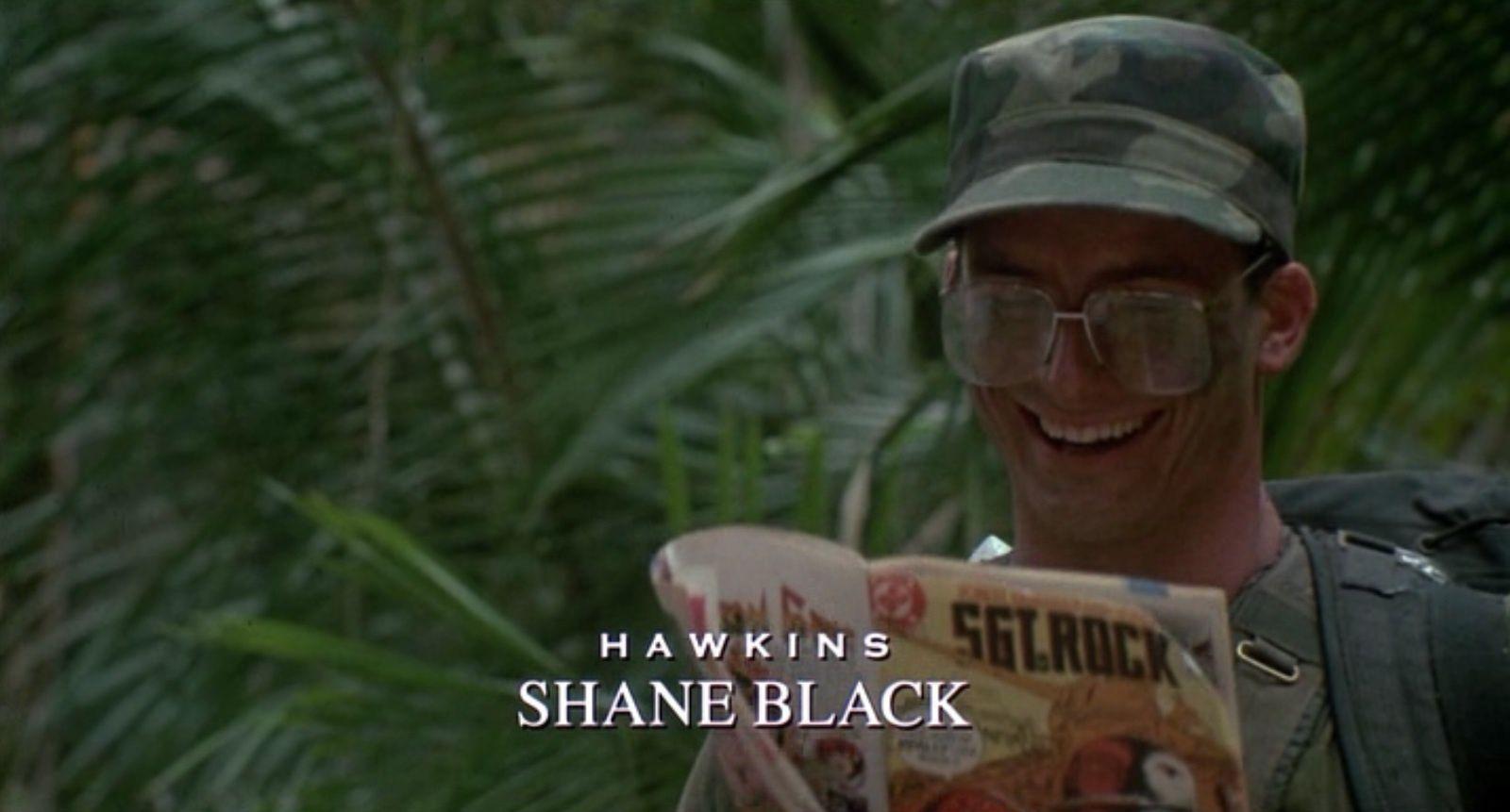 Shane Black dans le rôle d'Hawkins dans le film de 1987