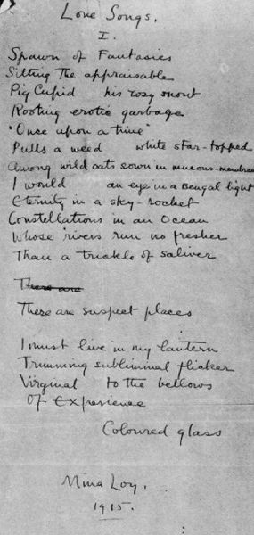 MINA LOY : SONGS TO JOANNES (1917)