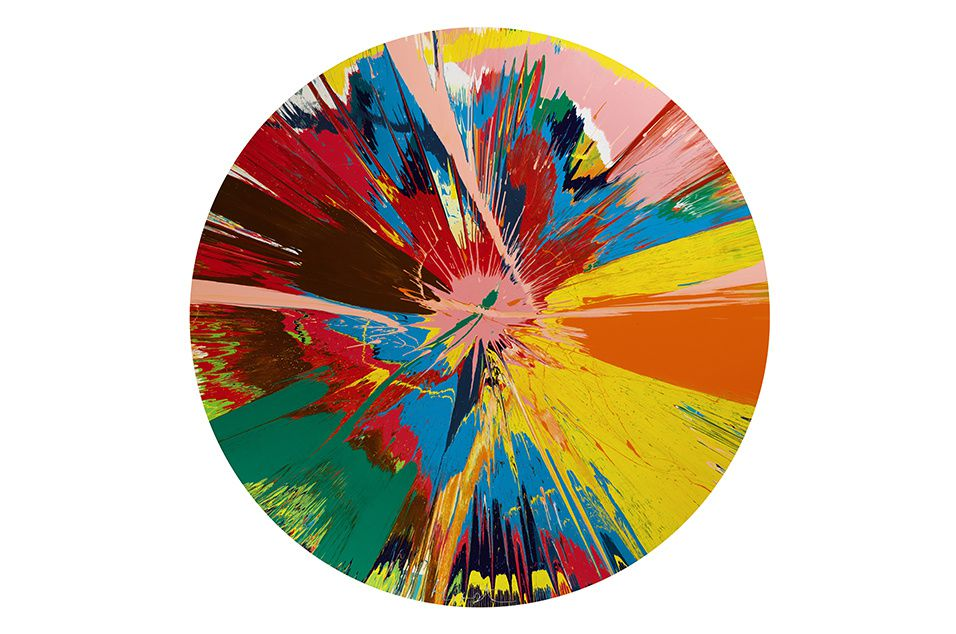 DAMIEN HIRST Beautiful, shattering, slashing, violent, pinky, hacking, sphincter painting, 1995 Estimation : £250,000–350,000