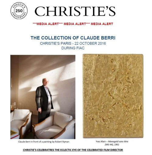 VENTE AUX ENCHERES DE LA COLLECTION DE CLAUDE BERRI CHEZ CHRISTIES LE 22 OCTOBRE 2016