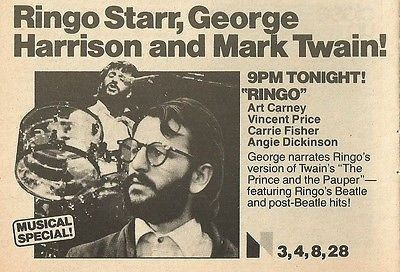 RINGO TV SPECIAL &quot&#x3B;THE PRINCE AND THE PAUPER&quot&#x3B; STARRING CARRIE FISHER