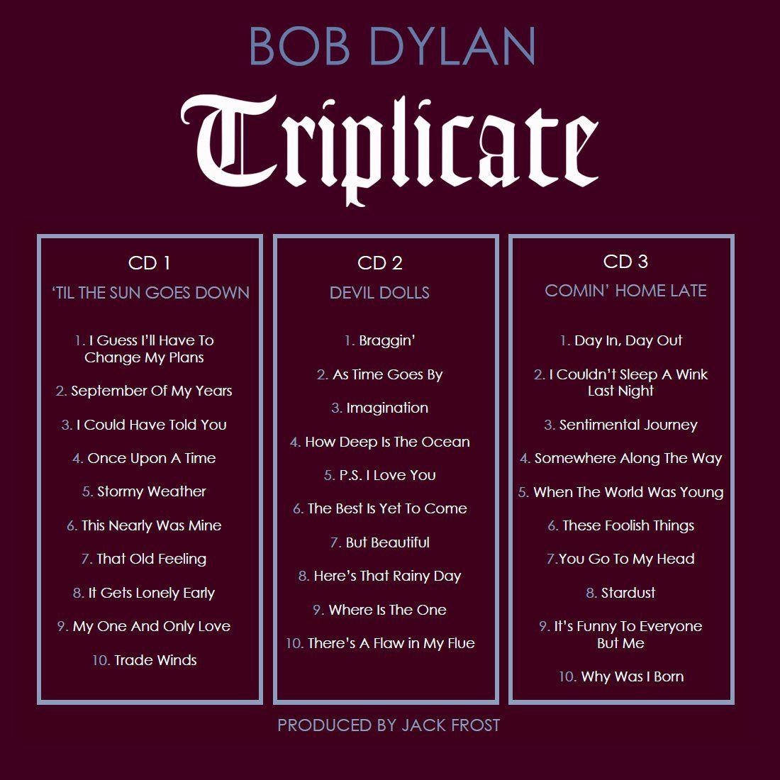 TRIPLICATE LE PREMIER TRIPLE ALBUM DE  BOB DYLAN SORT LE 31 MARS 2017
