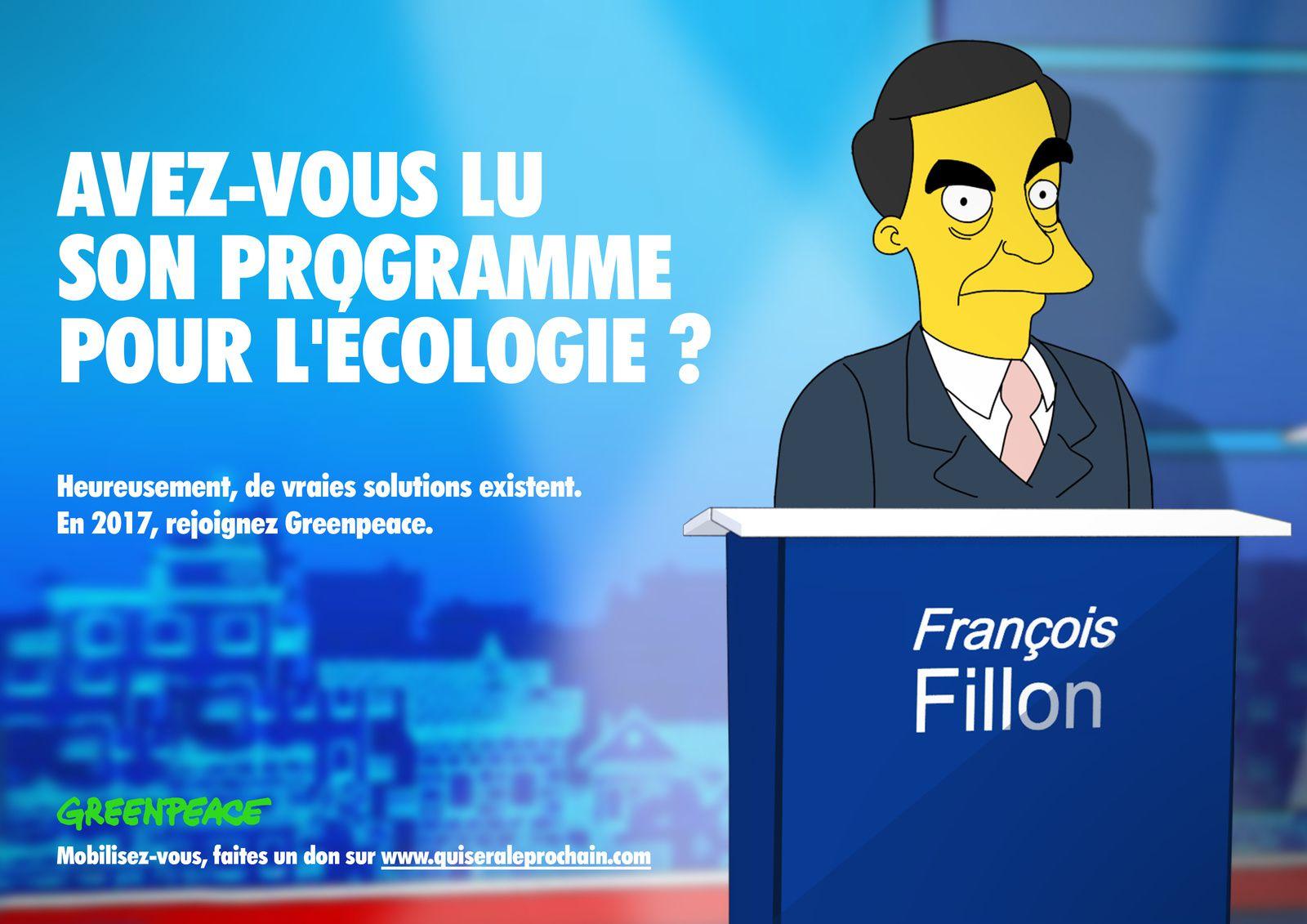 QUI SERA LE PROCHAIN ? GREENPEACE PARODIE LES ELECTIONS FRANCAISES FACON SIMPSONS