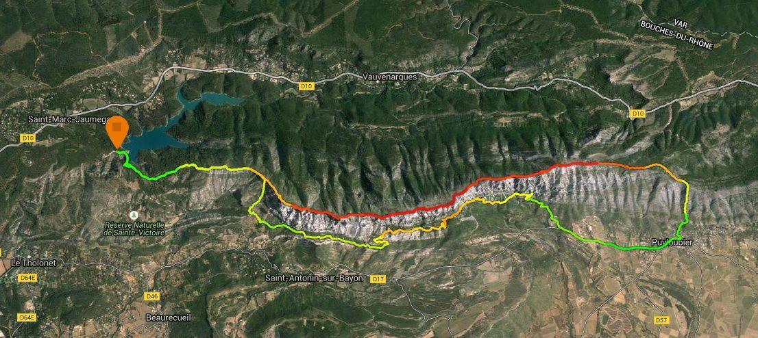"""DEPART Barrage du Bimont 350m, les Costes Chaudes, le Pas de l'Escalette 686m >>>>> 1ère Traversée """"en balcon"""" : le Pas de l'Escalette 686m, Refuge Cézanne 475m, la Marbrière, le Pas du Clapier, Refuge Baudino 797m, l'Ermitage de St Ser 624m, Parking St Ser 404m, Puyloubier 340m (km16). >>>>> 2nde Traversée """"sur les crêtes"""" : Puyloubier 340m (km16), Oratoire de Malivert 776m, Pic des Mouches 1011m, Croix de Provence 986m, le Prieuré, le Pas de l'Escalette 686m. >>>>> retour au départ:  le Pas de l'Escalette 686m, les Costes Chaudes, Barrage du Bimont 350m."""