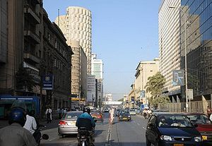 English: Chundrigar Road, with 20th century ar...