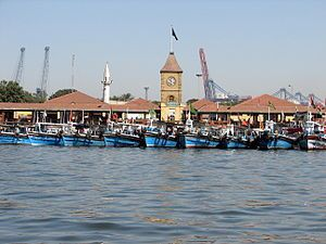Busy Karachi boating harbor in Kemari. From he...