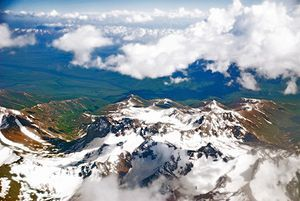 A view of the Pamir Mountains of Tajikistan fr...