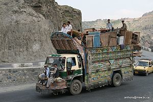 Typical highly decorated Pakistani transport t...