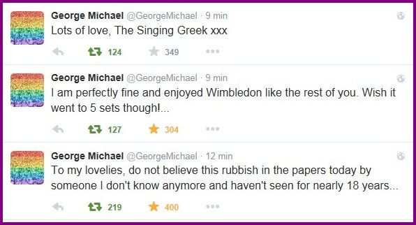 MISE AU POINT DE GEORGE MICHAEL SUR TWITTER