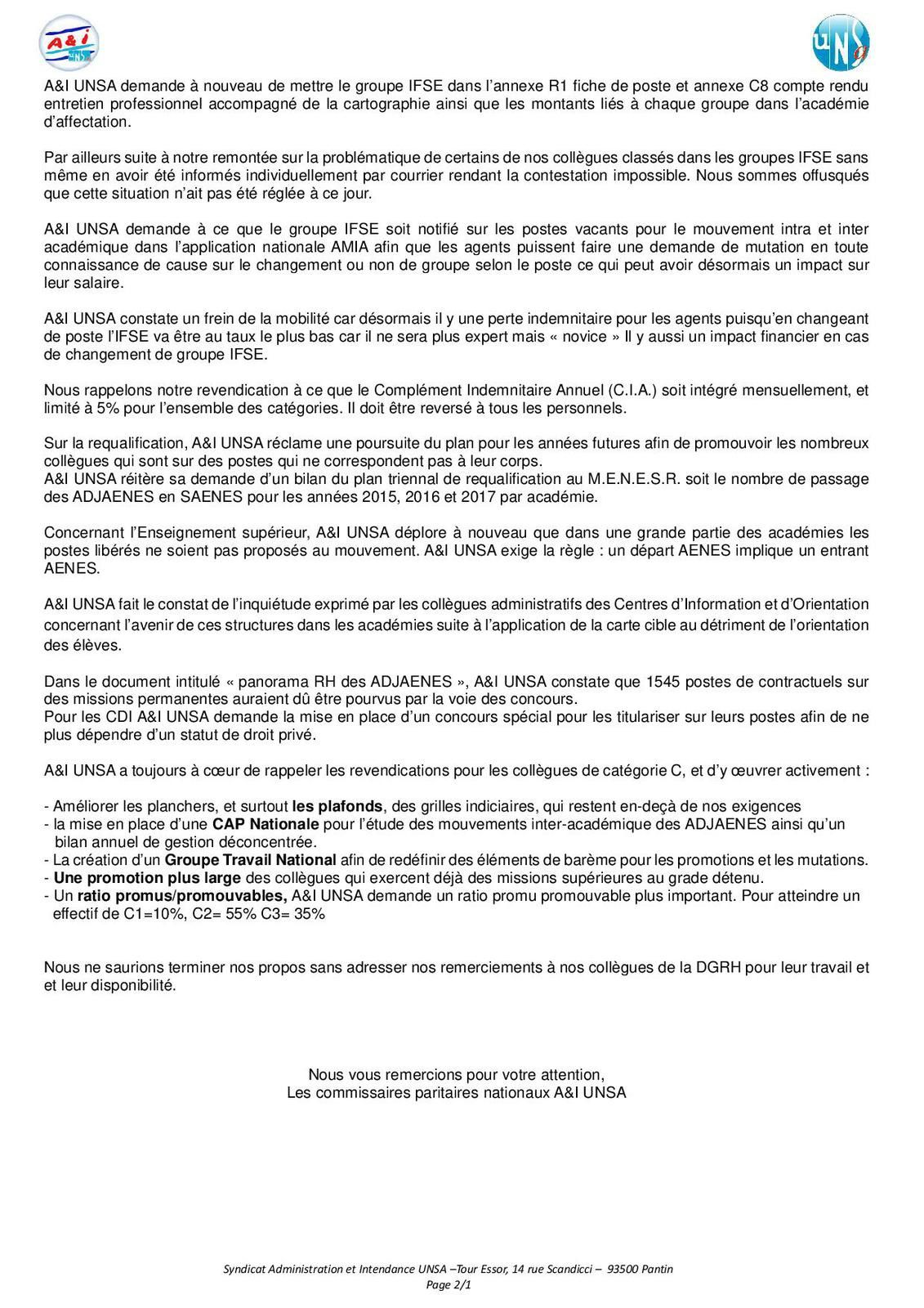 Capa syndicat aeti unsa acad mie reims - Grille indiciaire adjoint administratif education nationale ...