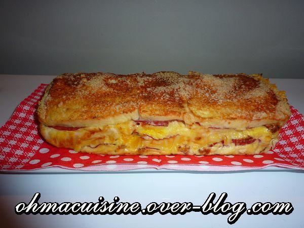 Cake croque monsieur italien (pesto, mozza ...)