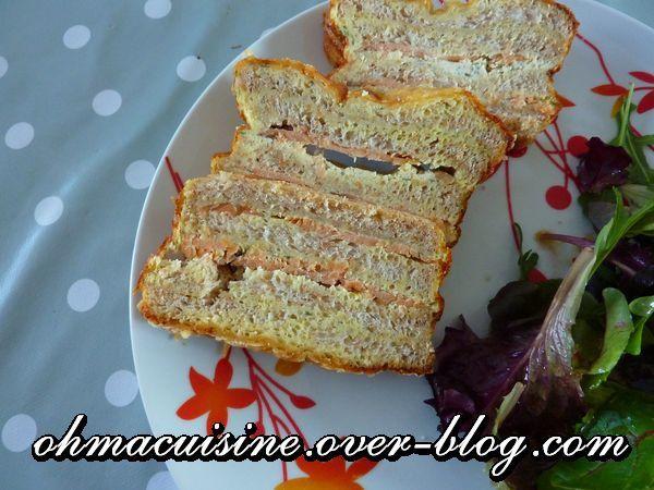 Cake croque saumon fumé et Boursin
