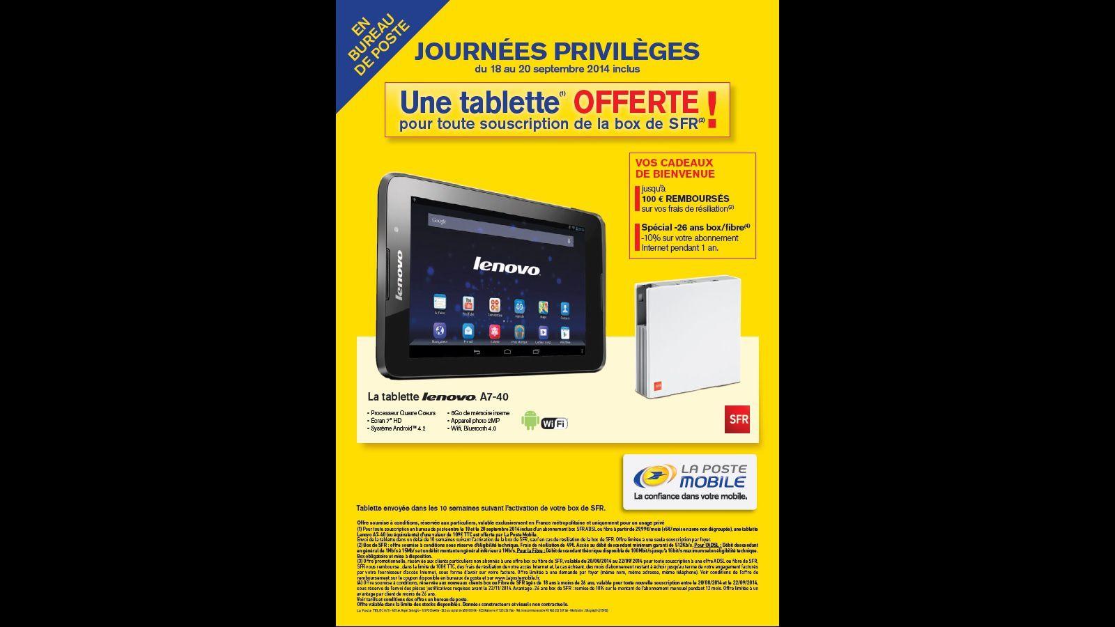 tablette lenovo gratuite pour l 39 achat d 39 une box sfr le blog bon plan mobile bon plan. Black Bedroom Furniture Sets. Home Design Ideas