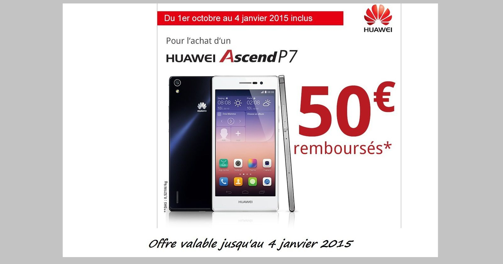 huawei ascend p7 16 go 4g 50 euros rembours s le blog bon plan mobile bon plan smartphone. Black Bedroom Furniture Sets. Home Design Ideas