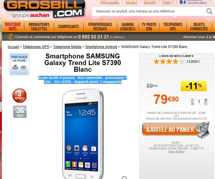 Promotion smartphone galaxy trend lite moins de 80 euros - Smartphone galaxy trend lite blanc ...
