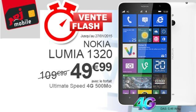 vente flash nokia lumia 1320 chez nrjmobile le blog bon plan mobile bon plan smartphone et. Black Bedroom Furniture Sets. Home Design Ideas