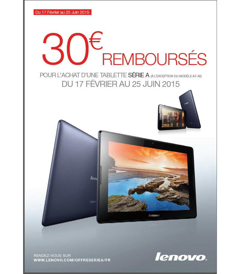 offre de remboursement tablette lenovo yoga tableta8 50 30 rembours s le blog bon plan. Black Bedroom Furniture Sets. Home Design Ideas