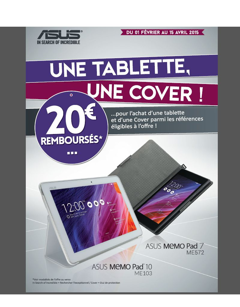 offre de remboursement de 20 euros sur les tablettes asus le blog bon plan mobile bon plan. Black Bedroom Furniture Sets. Home Design Ideas