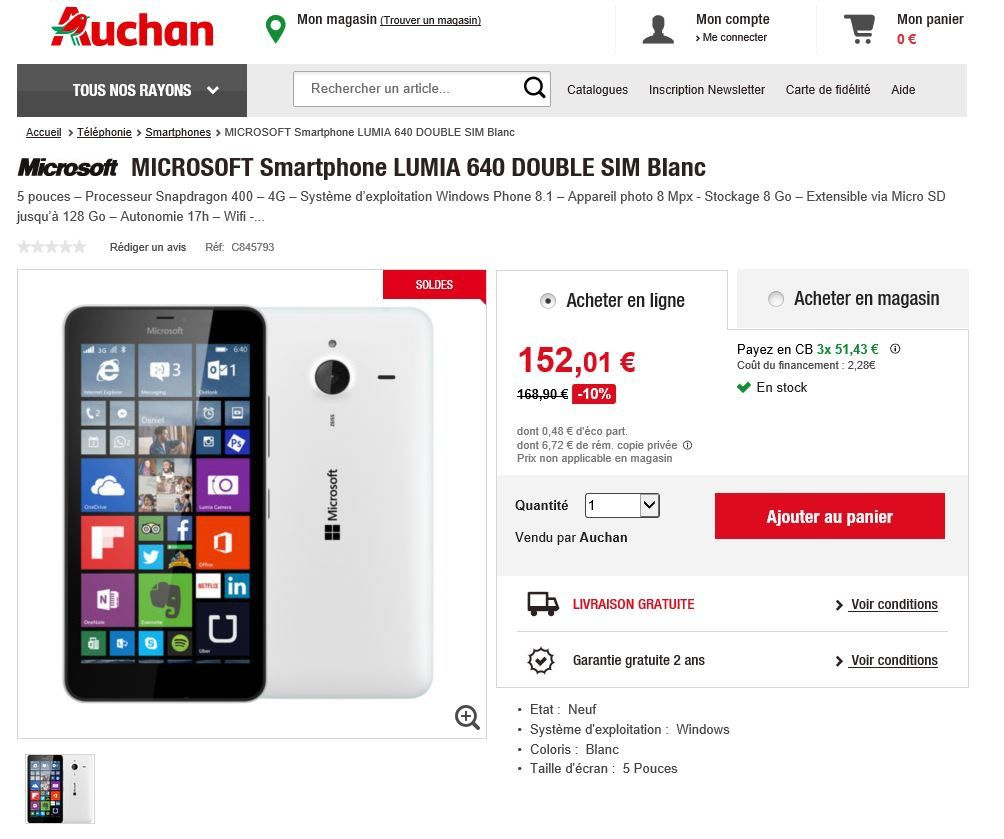 smartphone lumia 640 double sim en promo chez auchan le blog bon plan mobile bon plan. Black Bedroom Furniture Sets. Home Design Ideas