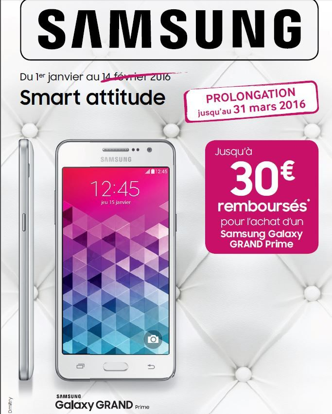 offre de remboursement smarphone samsung grand prime le blog bon plan mobile bon plan. Black Bedroom Furniture Sets. Home Design Ideas