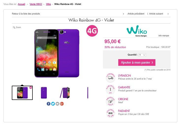 vente priv e smartphone wiko 4g sur le blog bon plan mobile bon plan. Black Bedroom Furniture Sets. Home Design Ideas
