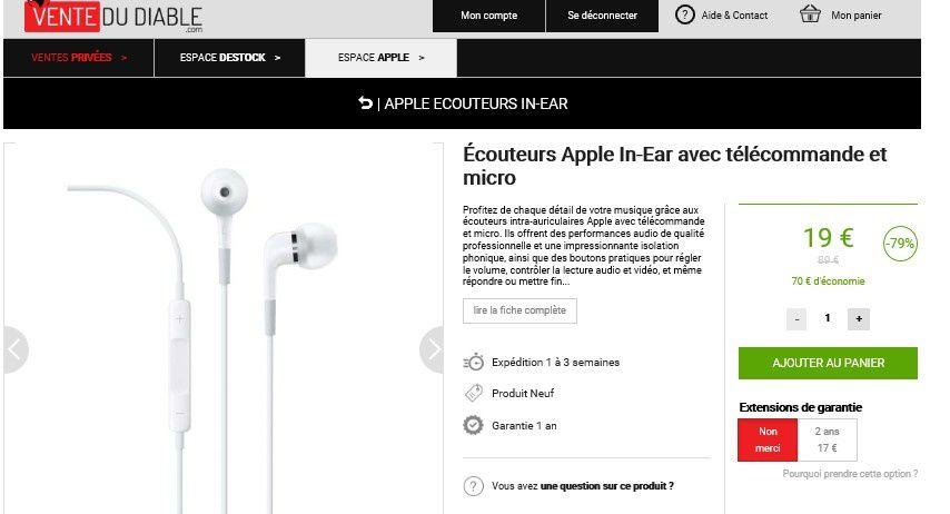 bon plan apple couteurs apple in ear avec t l commande et micro le blog bon plan mobile. Black Bedroom Furniture Sets. Home Design Ideas