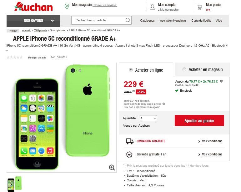 bon plan iphone 5c chez auchan le blog bon plan mobile bon plan smartphone et tablette. Black Bedroom Furniture Sets. Home Design Ideas