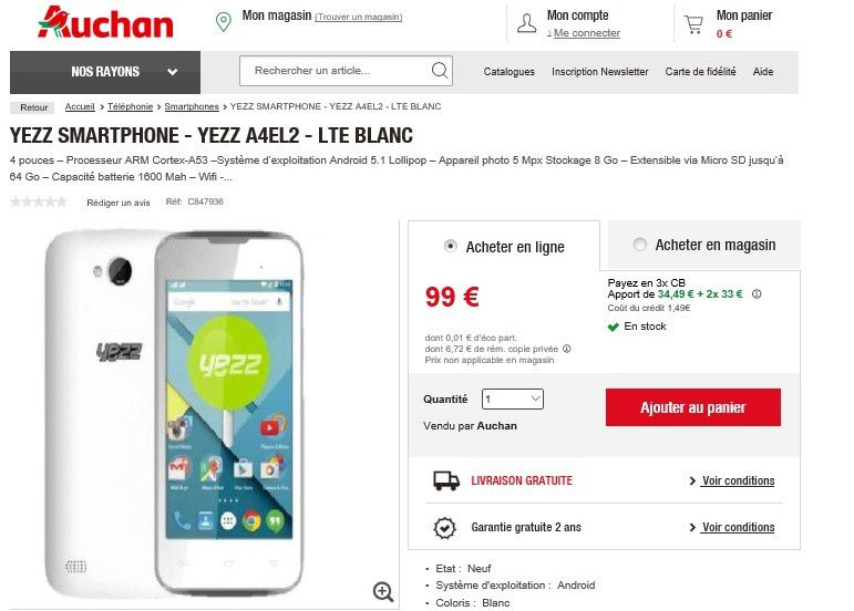 bon plan smartphone yezz smartphone moins de 100 euros le blog bon plan mobile bon plan. Black Bedroom Furniture Sets. Home Design Ideas
