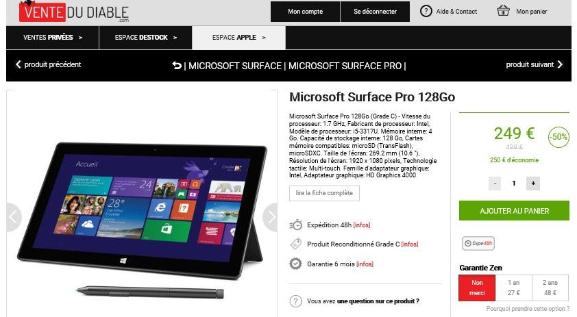 bon plan tablette microsoft surface pro 128go le blog bon plan mobile bon plan smartphone et. Black Bedroom Furniture Sets. Home Design Ideas