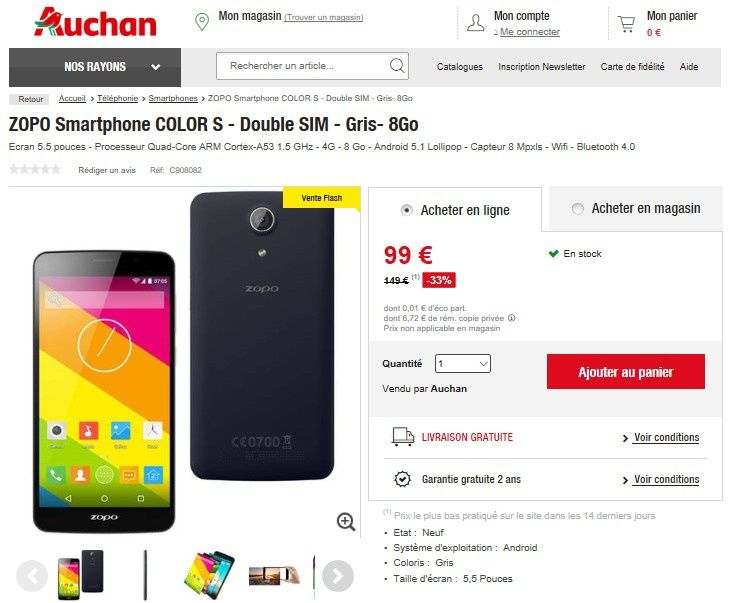 vente flash auchan zopo smartphone color s 99 euros le blog bon plan mobile bon plan. Black Bedroom Furniture Sets. Home Design Ideas