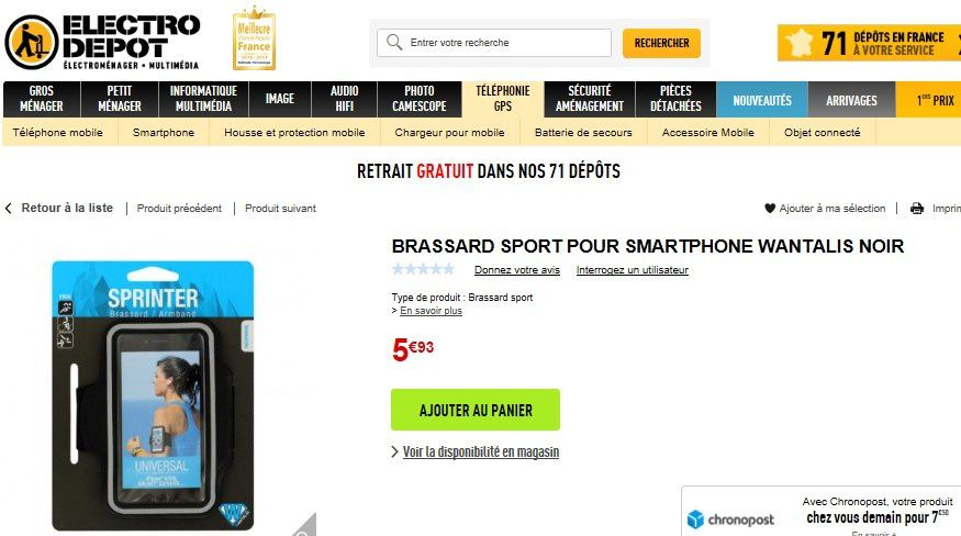 brassard sport pour smartphone moins de 6 euros chez electro d p t le blog bon plan mobile. Black Bedroom Furniture Sets. Home Design Ideas
